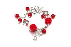 Legant bracelet from silve, red agate and wire on white Stock Photo