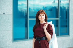 Legant brunette adult woman outdoors Royalty Free Stock Photo
