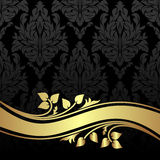 Еlegant charcoal floral Background with golden floral Border. Royalty Free Stock Image