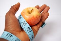 Legato in una dieta Apple fotografia stock libera da diritti