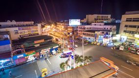 LEGAZPI, PHILIPPINES - JANUARY 5, 2018: Traffic on one of the central streets of the city of Legazpi at night. stock video footage