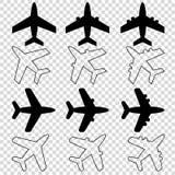 lege achtergrond van twaalf de zwarte witte vliegtuigpictogrammen royalty-vrije illustratie