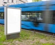 Lege Affiche, stadsstraat in Zagreb stock foto's