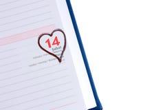 Lege agendapagina 14 Februari met copyspace Royalty-vrije Stock Fotografie