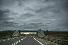 Lege asfaltweg en een brug op donkere de zomerdag Royalty-vrije Stock Foto's