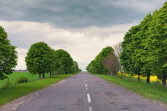 Lege asfaltweg in platteland Wegrek binnen aan horizon Landschap in de lente bewolkte dag Royalty-vrije Stock Foto