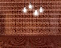 Lege bakstenen muur met hierboven lampen stock illustratie