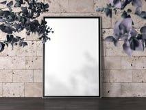 Lege banner met zwart kader en bakstenen muren op achtergrond, het 3d teruggeven Royalty-vrije Stock Foto