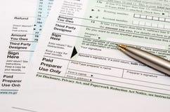 Lege belastingsvorm met pen Royalty-vrije Stock Afbeelding