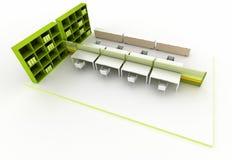 Lege bibliotheek, exemplaar ruimteillustratie vector illustratie