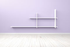 Lege binnenlandse lichtpaarse ruimte witte witte plank en houten FL Royalty-vrije Stock Afbeelding