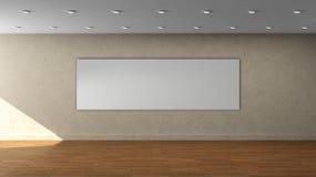 Lege binnenlandse malplaatje van de hoge resolutie het beige muur met wit kleuren breed kader op voormuur Royalty-vrije Stock Fotografie