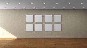Lege binnenlandse malplaatje van de hoge resolutie het beige muur met 8 wit kleuren vierkant kader op voormuur Stock Afbeelding