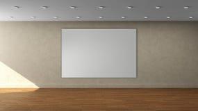 Lege binnenlandse malplaatje van de hoge resolutie het beige muur met wit kleurenkader op voormuur Stock Afbeelding