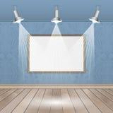 Lege binnenlandse ruimten met beeld, sportlights, naadloos behang en houten vloer stock illustratie