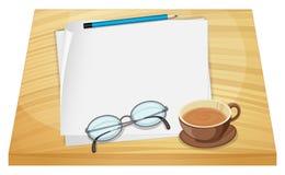 Lege bladen van document boven de houten lijst vector illustratie