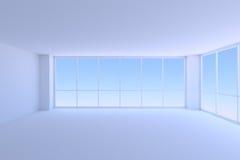 Lege blauwe bedrijfsbureauruimte met twee grote vensters Stock Afbeeldingen