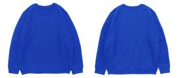 Lege blauwe het malplaatje voor en achtermening van de sweatshirtkleur Royalty-vrije Stock Afbeeldingen