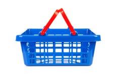 Lege blauwe het winkelen mand Royalty-vrije Stock Fotografie
