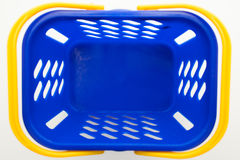 Lege blauwe het winkelen mand, hoogste mening Royalty-vrije Stock Afbeeldingen