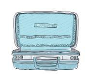 Lege blauwe leuke koffer uitstekende kunst Royalty-vrije Stock Fotografie