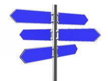 Lege blauwe richtingstekens op een metaalkolom Stock Fotografie