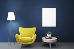 Lege blauwe ruimte, gele leunstoel, lijst, affiche stock illustratie