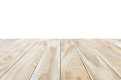 Lege bovenkant van houten die lijst of teller op witte backgroun wordt geïsoleerd Stock Foto's
