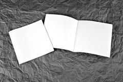 Lege brochures bij een grijze gerimpelde document achtergrond Stock Afbeeldingen