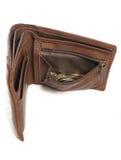 Lege bruine leerportefeuille met muntstukken royalty-vrije stock afbeeldingen