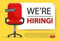 Lege bureaustoel met leeg teken Werkgelegenheid, vacature en het huren baan Vector royalty-vrije illustratie