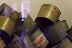 Lege bussen Cycloonb gas in Asuchwitz-museum royalty-vrije stock foto