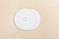 Lege CDs op hout Royalty-vrije Stock Fotografie