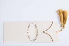Lege ceremonie, huwelijk of een kaart van de partijuitnodiging op wit Royalty-vrije Stock Afbeeldingen