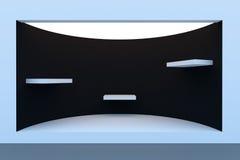 Lege cirkel storefront of podium met verlichting en een groot venster Stock Afbeelding
