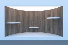 Lege cirkel storefront of podium met verlichting en een groot venster Stock Fotografie
