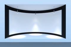 Lege cirkel storefront of podium met verlichting en een groot venster Royalty-vrije Stock Afbeelding