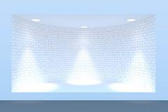 Lege cirkel storefront of podium met verlichting en een groot venster Stock Afbeeldingen