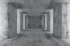 Lege concrete zaal met concrete kolommen Royalty-vrije Stock Fotografie