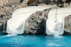 Lege dia's in aquapark Stock Fotografie