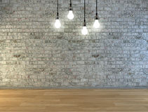 Lege die bakstenen muur met plaats voor tekst door lampen hierboven wordt verlicht Stock Afbeeldingen