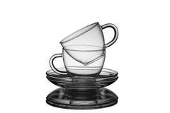 Lege die koppen met schotels voor thee op witte achtergrond wordt geïsoleerd Royalty-vrije Stock Afbeelding