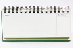 Lege die Nota op wit wordt geïsoleerd Stock Afbeelding
