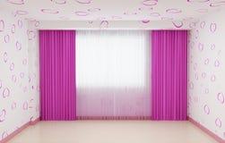 Lege die ruimte voor meisjes in roze wordt vernieuwd Het binnenland heeft een stenen rand en gordijnen in roze Stock Afbeeldingen