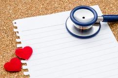 Lege document nota met stethoscoop royalty-vrije stock afbeelding