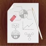 Lege document pagina, potlood, gom, grafiekmalplaatje Royalty-vrije Stock Afbeeldingen