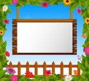 Lege document spatie op houten uithangbord in de tuin stock illustratie