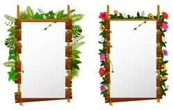 Lege document spatie op houten uithangbord in de tuin vector illustratie