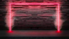 Lege donkere steenlijst met de rode fluorescente lichten van de neonlaser in rook royalty-vrije stock foto's
