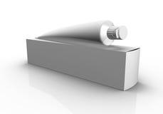 Lege doos en buis op witte achtergrond Stock Foto's